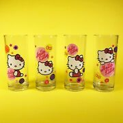 Hello Kitty Drinking Glasses Tumblers Set Of 4 Pink Bows Decal 6 Sanrio 2012