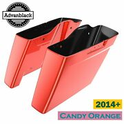 Candy Orange Dual Uncut Extended Bags Stretched Saddlebag For Harley 2014+