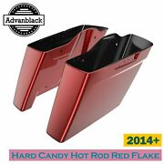 Hard Candy Hot Rod Red Flake Dual Uncut Stretched Saddlebag For Harley 2014+