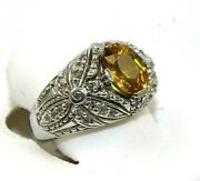 Natural Oval Yellow Sapphire And Diamond Halo Solitaire Ring 14k White Gold 4.23ct