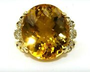 Natural Oval Citrine And Diamond Halo Solitaire Ladyand039s Ring 14k Yellow Gold 4.47ct