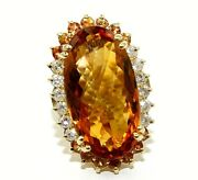 Natural Oval Citrine And Diamond Halo Solitaire Long Ring 14k Yellow Gold 19.0ct