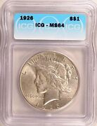 1926 Peace Dollar Silver S1 Choice Uncirculated Mint State Icg Ms64