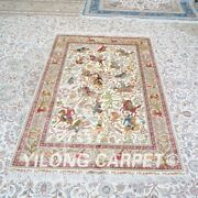 Yilong 4'x6' Hunting Scene Hand Knotted Silk Carpet Home Decor Area Rug Z476a