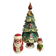 Unique Christmas Tree Santa Nesting Dolls Hand Carved Hand Painted