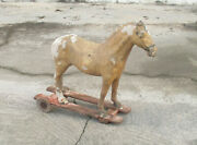 Salvage Toy. Antique 19th/20th Century Papier Mache Big Horse Toy Pull Toy