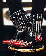 Ddl079-1 Double D Ranch Ring Of Fire Black Red 10 Leather Ladies Boots