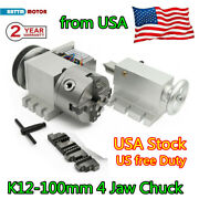 〖usa〗 Rotation 4th Axis 4 Jaw 100mm Chuck W/ Tailstock For Cnc Router Engraving