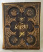 Antique Old Large German Family Bible From 1800and039s Hard Cover Wood Leather
