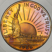 1986-s Statue Of Liberty Half Dolor 50 Cents Beautiful Purple Toned Colors Proof