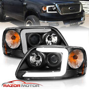 [led C Light Bar]for 1997-2003 Ford F-150 Halo Ring Projector Black Headlights