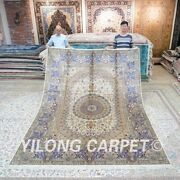 Yilong 8'x11' Large Hand Knotted Silk Carpet Home Decor Handmade Area Rug T181