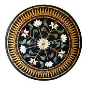 48 Black Marble Dining Table Tops Precious Floral Inlay Occasional Dandeacutecor B245c