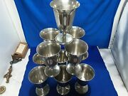 11 Genuine Vintage Pewter Goblets Cups 5 Tall Marked Beer Wine Man Cave Bar