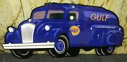 47 Gulf Oil Truck Die Cut Aluminum Reproduction Gulf Signs / Gas And Oil