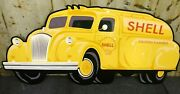 47 Shell Oil Truck Die Cut Aluminum Reproduction Shell Signs / Gas And Oil