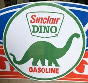 47 Round Sinclair Dino Gasoline Sign / Sinclair Signs / Gas And Oil / Garage Sign