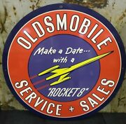 42 Oldsmobile Rocket 8 Sign Die Cut Aluminum Reproduction Signs / Gas And Oil