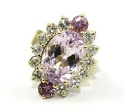 Oval Pink Kunzite Sapphire And Diamond Solitaire Ring 14k Yellow Gold 9.94ct