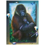 Ferjo A Motherand039s Care Original Painting On Canvas Hand Signed.