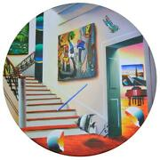 Ferjo Red Stairs With Miro Original Painting On Wood Hand Signed.
