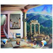 Ferjo Egyptian Ruins Original Painting On Canvas Hand Signed.