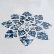 2and039 Marble Composite Table Top Black Mother Of Pearl Mosaic Inlay Home Dandeacutecor B256
