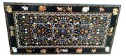5and039x3and039 Black Marble Dining Table Top Lapis Floral With Animals Inlay Decors B268