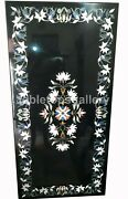 25x50 Marble Black Dining Table Top White Floral Inlay Art Hallway Decor B278a