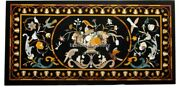 5and039x3and039 Black Marble Center Dining Table Top Precious Birds Inlay Decorative B290b