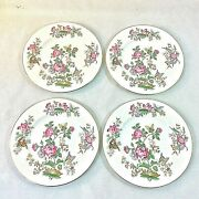 Wedgwood Charnwood Set 4 Salad Dessert Plates 8 Grn Stamp 3984 Butterfly Bee