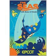 Epcot The Seas With Nemo And Friends Poster Numbered Le 100 Disney Parks Limited