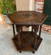 Antique French Carved Oak Center Side Table Hexagon Two Tier Shelf 19th Century