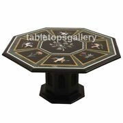 36 Marble Dining Table Top With 24 Stand Semi Precious Birds Inlay Décor B311a