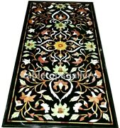 5and039x3and039 Black Marble Dining Table Tops Precious Floral Inlay Hallway Decors B322b