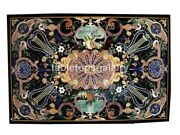 4and039x3and039 Black Marble Top Dining Table Pietradura Multi Inlay Restaurant Decor B339