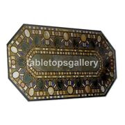 4and039x3and039 Black Marble Dining Table Top Malachite Mosaic Inlay Furniture Decor B343a