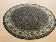 8andrsquo X 8andrsquo Black Beige Fine Round Geometric Oriental Rug Hand Knotted Wool Foyer