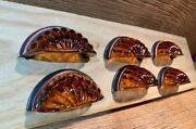 Classic Kitchen Cabinet Knobs Amber Crystal 3 5/8 Wide Set Of Six 70276a