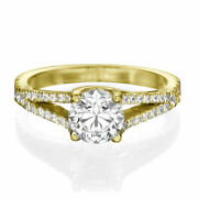 1 1/2 Ct Diamond Engagement Ring Round Cut H/si2 18k Yellow Gold Size 7