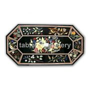 4and039x2and039 Marble Dining Table Top Multi Stone Floral Inlay Living Room Decorate B351