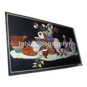4and039x3and039 Black Marble Top Dining Table Pottery Arts Inlay Restaurant Decors B357a