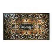 5and039x3and039 Black Marble Dining Table Top Pietra Dura Inlay Design Hallway Decor B360a