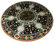 3' Marble Round Center Table Top Multi Stone Mosaic Inlay Dining Room Decor B362