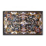 4and039x3and039 Black Marble Dining Table Top Semi Precious Inlaid Floral Arts Decor B380b