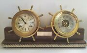 Chelsea Shipand039s Bell Clock And Barometer Set On Wood Stand Boston U.s.a. Vintage