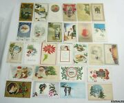 27 Antique Christmas Holiday 1900and039s Colorful Postcards Santa Greetings
