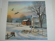 December Evening S/n Ronald Louque Country Winter Landscape Farm House Geese