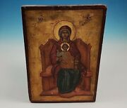 Antique Byzantine Russian Orthodox Icon Madonna Enthroned Mother God Theotokos