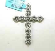 Fine Round Moissanite Cross Cluster Channel Ladyand039s Pendant 14k White Gold 8.62ct